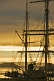 Image of Masts and rigging of the barque 'Picton Castle' against a cloudy sky at dawn.