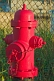 Image of A recently painted red fire hydrant.