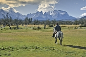 A local horse rider in the Parque Nacional Los Glaciares.