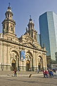 Metropolitan Cathedral of Santiago in the Plaza de Armas.