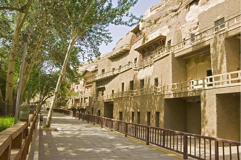 Walkways and entrances to the Buddhist Mogao Caves.