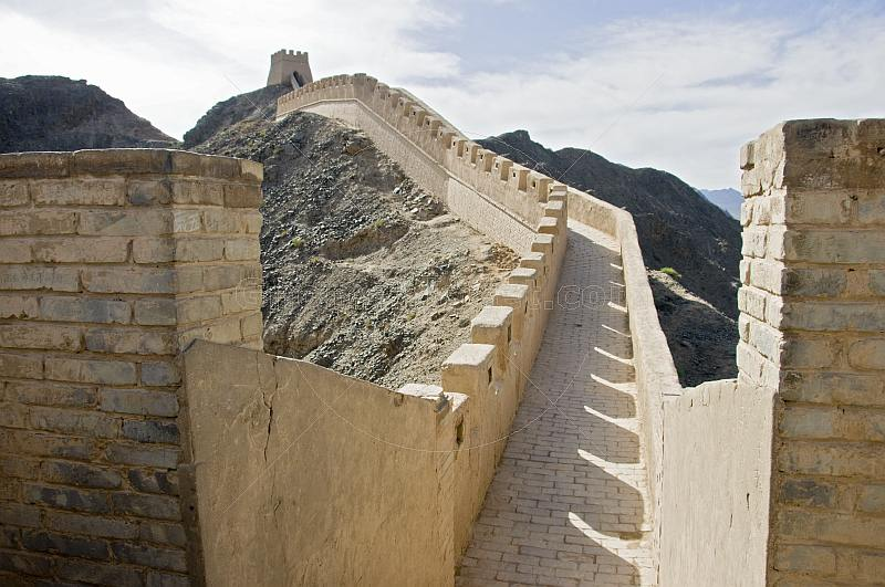 The reconstructed Great Wall of China at the Shiguan Gorge, near Jiayuguan.