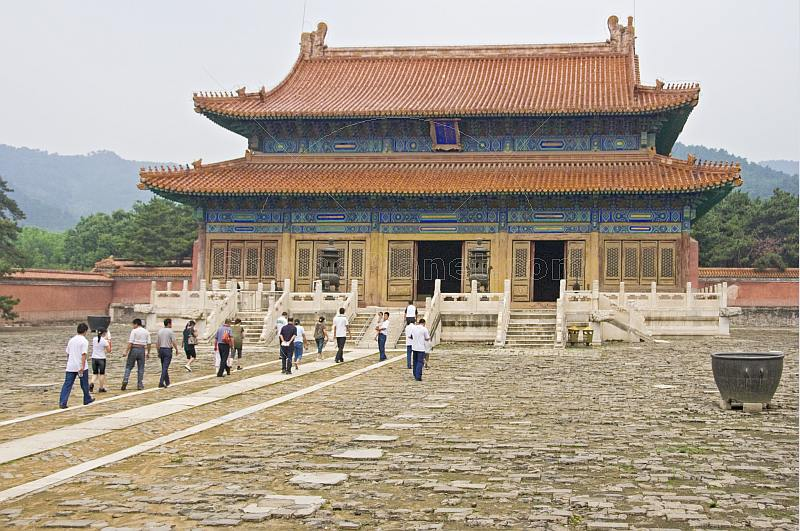 Chinese visitors in the inner corutyard of Xiao Ling - tomb of the Shunzhi Emperor, at the Eastern Qing Tombs, near Ji Xian.