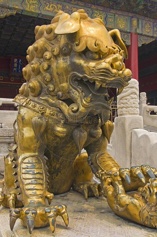 Gilded lion at the Palace of Heavenly Purity, in the Forbidden City.
