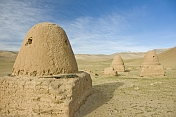 Adobe Tombs on the Karakoram Highway, near to the Kumtagh, the great sand plateau.