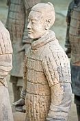 Closeup of Terracotta warrior in pit number 1.