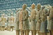 Terracotta warriors wait in the repair and rebuilding area.