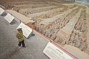 Chinese guard watches over the Terracotta warriors in pit number 1.