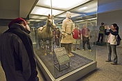 Chinese and Western visitors admire a Terracotta Soldier and horse.