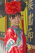 Chinese girl in traditional court dress at Beihai Lake.