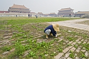 A gardener cleans the paths outside of the Gate of Supreme Harmony in the Forbidden City.