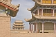 Image of Pagoda-style watch towers on the walls at the Jiayuguan Fort.