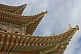 Image of Pagoda-style roof eaves on a watch tower at the Jiayuguan Fort.