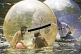 Image of Teenagers playing in plastic bubbles on the boating lake.