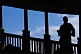 Image of Silhouette of Buddhist monk at the Gao Temple.
