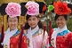 Image of Chinese students dress up in Imperial court robes at Jingshan Park.