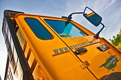 Oasis Overland yellow truck cab.
