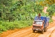 A heavy truck with roof riders drives along a rough and muddy jungle road.