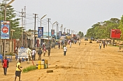 Main street and shopping area of Muanda.