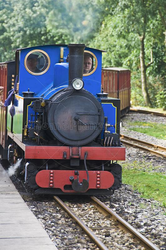 An approaching steam train at Kirklees Light Railway at Clayton West.