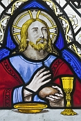 Stained glass depicts Jesus at Last Supper in All Saints Church at Thirkleby.