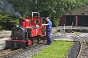 Locomotive driver prepares steam engine Fox at Kirklees Light Railway at Clayton West.