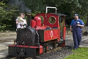 Mother and child look at steam engine Fox at Kirklees Light Railway at Clayton West.