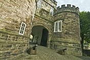 Gatehouse and entrance to Skipton Castle - a well preserved medieval castle first built in 1090.