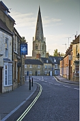 Olney High Street towards Saint Peter and Saint Paul church.