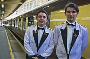 Carriage attendants on the Venice Simplon-Orient-Express at Victoria Station.