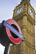 London Underground tube sign outside Big Ben clock tower and Houses of Parliament.