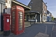 Image of Red telephone kiosk and post box on the Market Place.