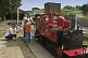 Family look at steam engine Fox at Kirklees Light Railway at Clayton West.