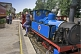 Image of A steam train at Kirklees Light Railway at Clayton West pulls up at the platform.