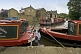 Image of Narrow boats on the Leeds and Liverpool Canal at the Belmont Street Wharf.