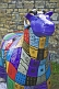 Image of Flock to Skipton sheep sculpture with colored decoration on the Leeds Liverpool canal.