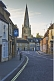 Image of Olney High Street towards Saint Peter and Saint Paul church.